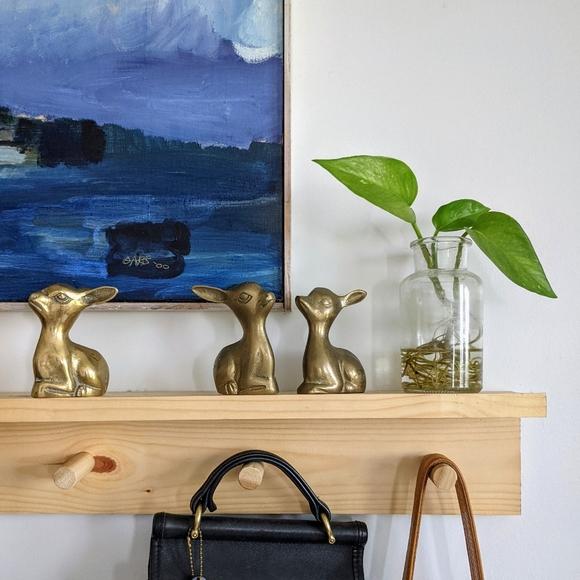Set of 3 Grumpy Brass MCM Figurines Deer Donkey